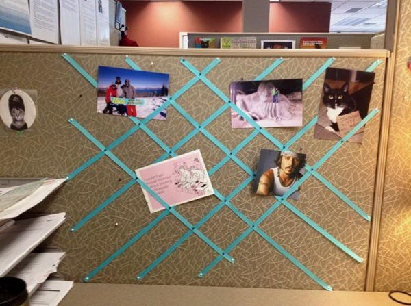 You can pin ribbon to the wall of the cubicle for a decorative photo collage. 20 Creative DIY Cubicle Decorating Ideas, http://hative.com/creative-diy-cubicle-decorating-ideas/,