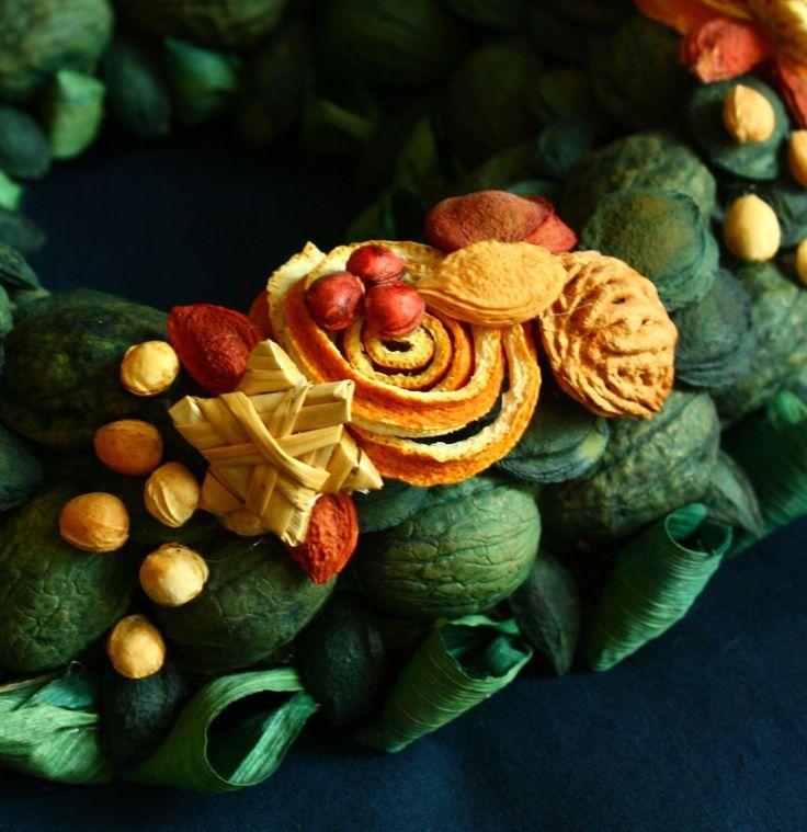 Vítací věnec 6 Ozdobný věnec z tónovaných přírodních materiálů s náznakem přicházejících vánoc. Je vyroben ze skořápek oříšků, pecek, trávy, slámy, sušených pomerančů, pomerančové kůry, šustí, přízdob. Upevněn je na pevném slaměném korpusu. Korpus je obalen batikovým papírem. Ze zadní strany je poutko na zavěšení. Na dveře se dá pověsit za delší ...