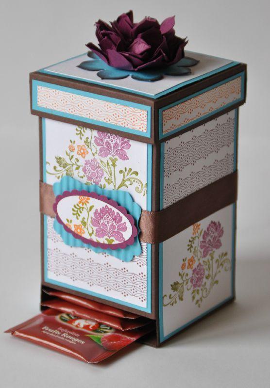 Tutoriel boîte à thé par Marie Meyer Stampin up - http://ateliers-scrapbooking.fr/