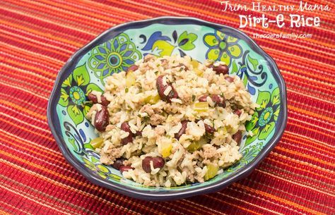 Trim Healthy Mama Dirt-E Rice Ingredients 2 cups brown rice, cooked 1.5-2 lbs. very lean ground turkey 1 15-oz can red beans, drained 1 large bell pepper 1/2 small white onion 4-5 celery stalks 1-2 tablespoons minced garlic 1/8 cup dried parsely 2 teaspoons Cajun Seasoning, 1 teaspoon ground sage 1 tablespoon coconut oil or olive oil