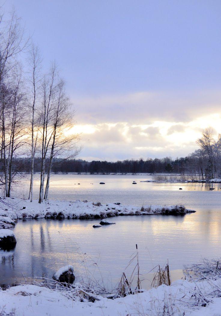 View from the rest area by the Sääksmäki bridge in the winter