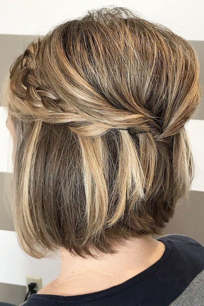 Hochzeit Hochsteckfrisuren für kurze Haare halb hoch halb runter Volumen mit Geflecht imanisalonannvi …   – hair