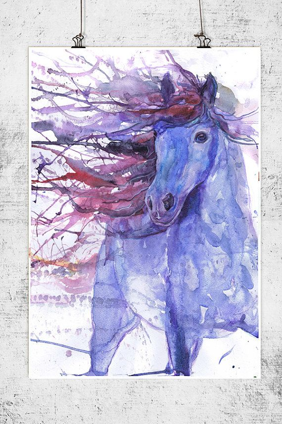 Horse art print, equestrian, equine, abstract horse painting, farm animal art, watercolor, horse lover, decor, wild horse gifts, dressage