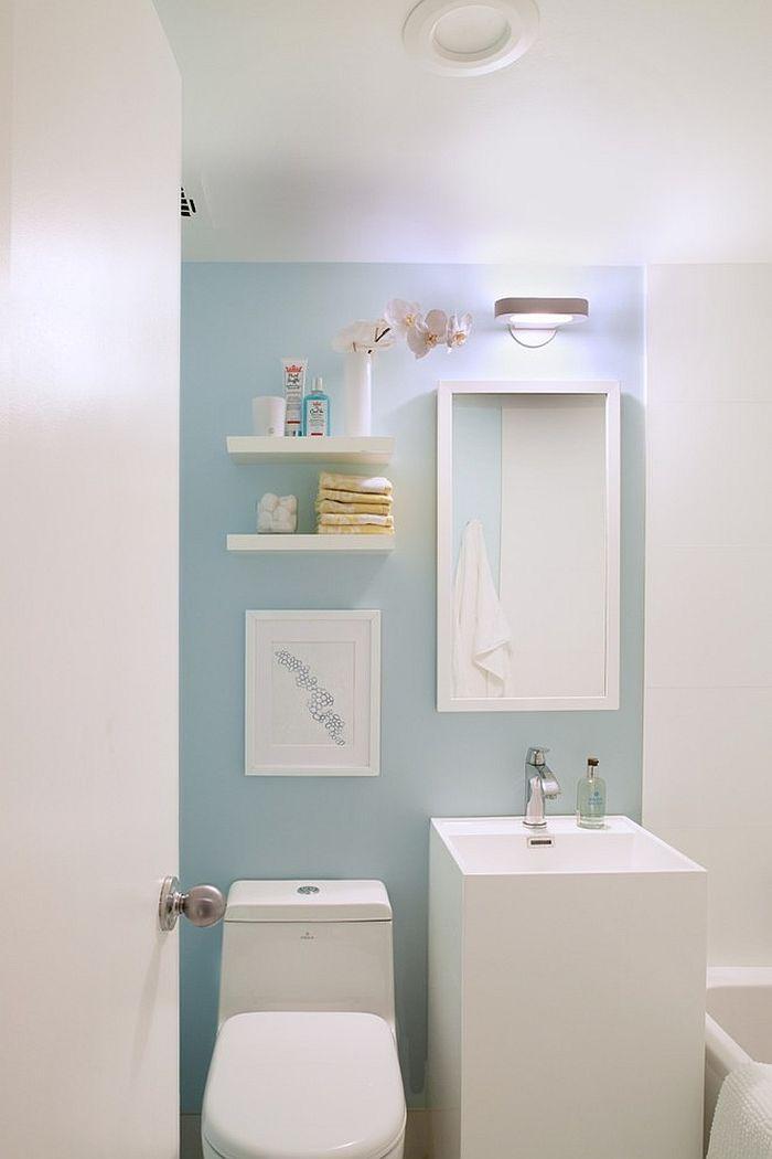 Calming blues work well in the Scandinavian bathroom