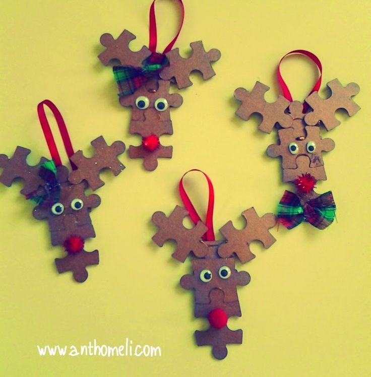 Christmas crafts, ornaments, rudolf ornament χριστουγεννιάτικες χειροτεχνίες, , Anthomeli, Ανθομέλι: Ιδέες για εύκολες χριστουγεννιάτικες κατασκευές παρέα με τα παιδιά