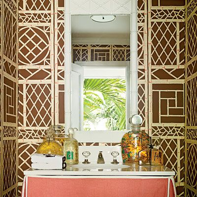 Get Your Bathrooms In On The Tropical Action Too. This Bamboo Print  Wallpaper Adds