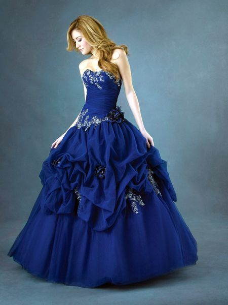 masquerade ball gowns   ... Blue Ballgown Strapless Tiered Appliques Flowers Decorated Prom Dress
