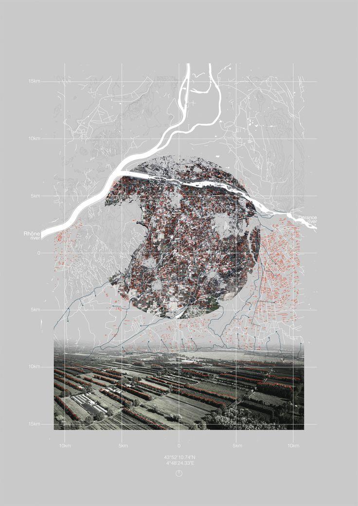 drawingarchitecture:  Gauthier Durey, 'Landscape urbanism interpretive mapping', 2015, Digital collage.