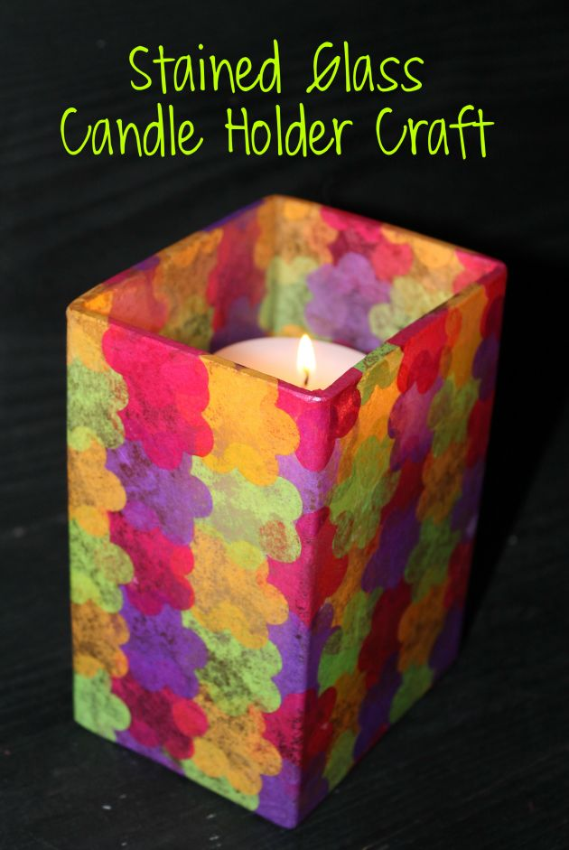 Stained glass candle holder crafts homemade and mother for Cardboard candle holders