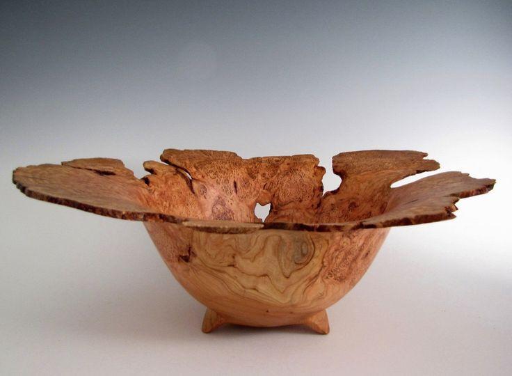 Wood Bowl Cherry Burl Wood Turned Bowl by JLWoodTurning on Etsy