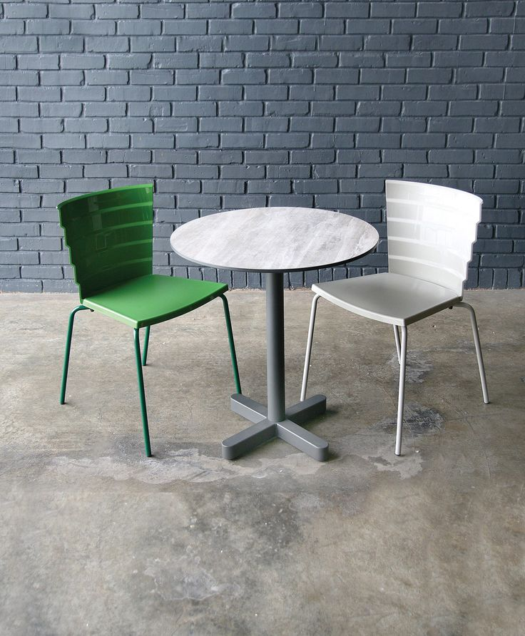 Bikini 1.0 in Green and White VR color from Sandler Seating. Polypropylene side chair on a steel sled base. Suitable for outdoors and designed by Marc Sadler.