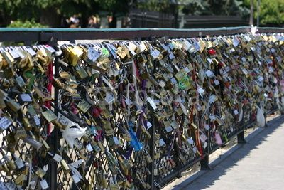 padlock bridge in Paris! Sam and I put a lock on it when we were there :)
