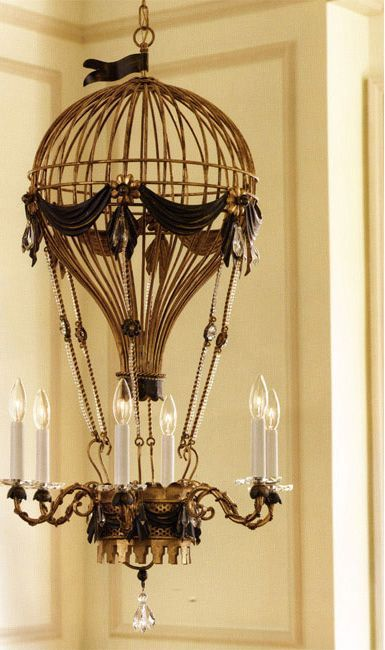 Love this air balloon steampunk chandelier. Think it would look great in a kid's room.  #Lighting #Light #Chandelier
