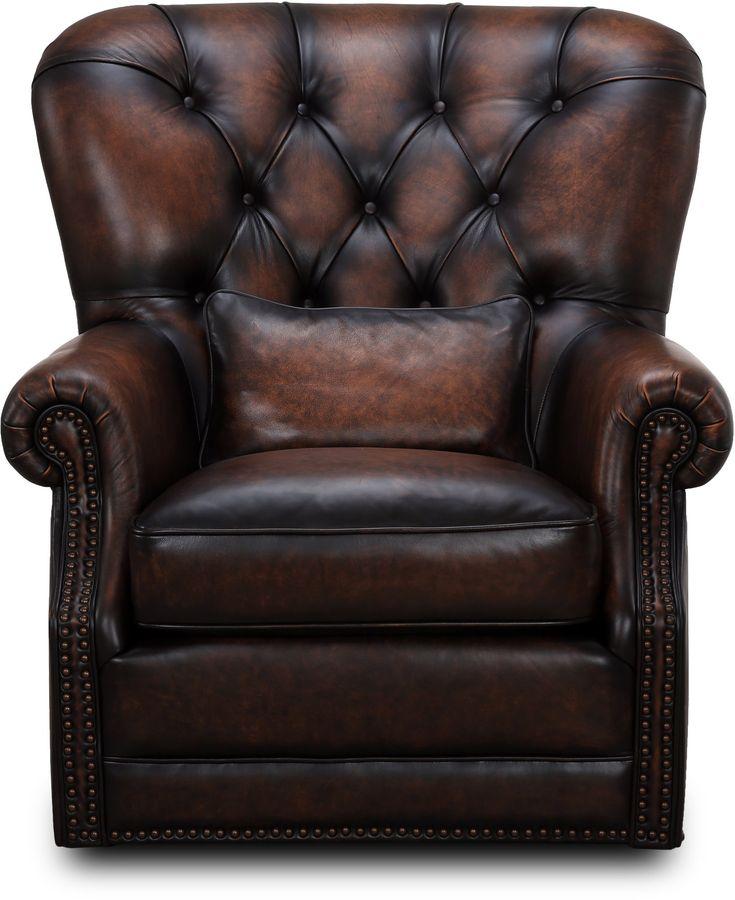 Bomber Jacket Brown Tufted Swivel Chair - Hillsboro