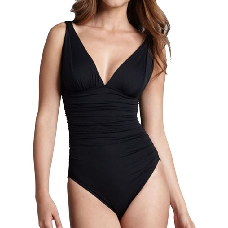 LAPAYA Women's 1 Piece Bathing Suit V-neck Ruched Tummy Control Maillot Swimsuit >>> Quickly view this special  product, click the image : Plus size bathing suits