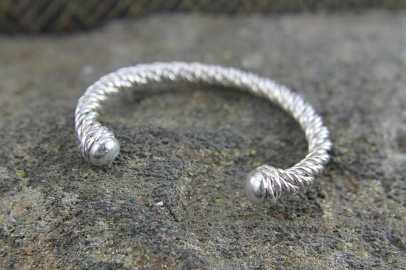 Solid Sterling Silver Rope Bracelet, Twisted Viking Cuff Bracelet, Ancient Style Accessory, Mens or Ladies Arm Jewelry, Gift for Him or Her