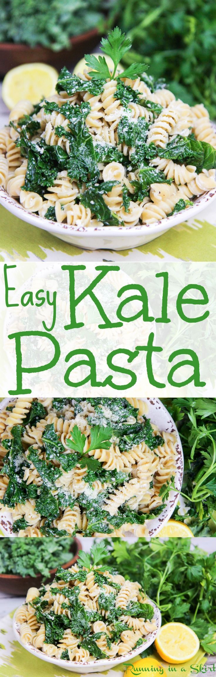 Easy & Healthy Lemon Kale Pasta recipe.  An easy vegetarian weekday dinner with a light slightly creamy sauce.  A homemade dish that is great for Meatless Monday and when you are craving comfort foods. Includes Parmesan cheese, greek yogurt and garlic.  Vegetarian with Vegan option. / Running in a Skirt