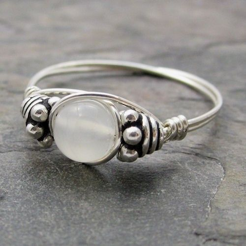 White Moonstone Bali Sterling Silver Wire Wrapped by KimsJewels, $11.00