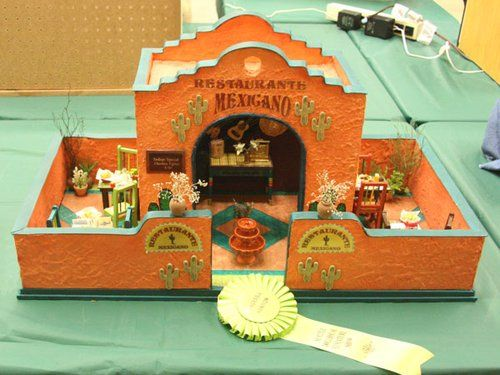 miniature mexican dollhouse   Miniature Mexican restaurant set in a walled patio by Betty Bonney