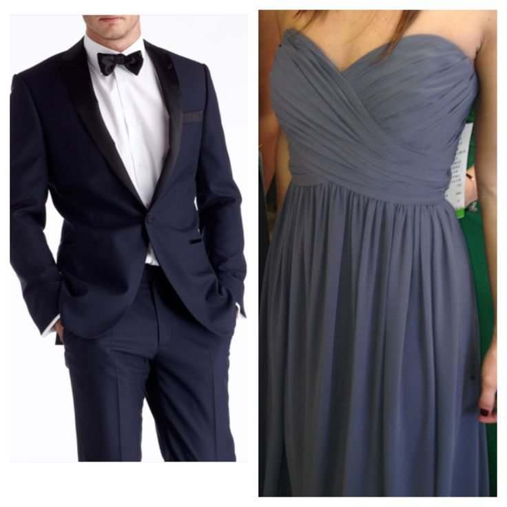 These are our groomsmen Tuxedo's and the bridesmaids dresses-  Pewter/dark grey dresses and midnight blue tux's