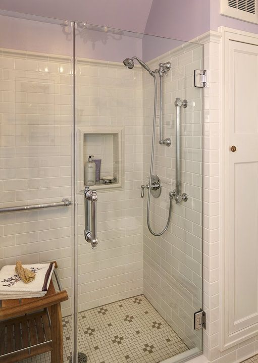 Leslie Dohr Interior Design | 1920's Bathroom Remodel Love the shower tile and edging.