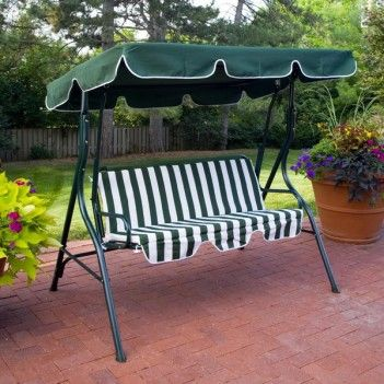 Green Patio Swing With Canopy And Striped Cushions Seat