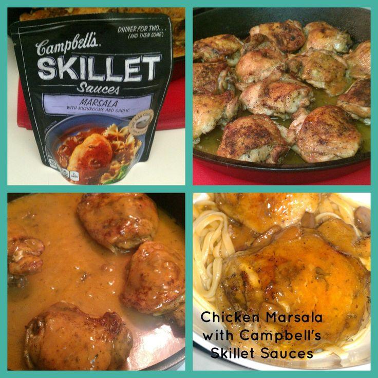 Quick Chicken Marsala #recipe made from Campbell's Skillet Sauces http://www.smartsavvyliving.com/campbells-skillet-sauces-review-quick-chicken-marsala/