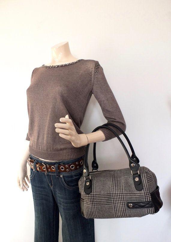 TEXIER, sac bowling, sac à main en tissu & cuir, Vintage french - shoulder bag, tote bag, 1990's, french vintage, vintage bag