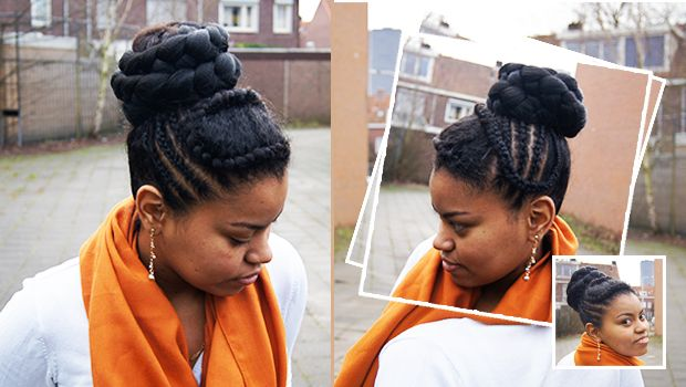 Hoge knot met #extensions: Bridal High bun #Hairstyle #Naturalhair #Natural