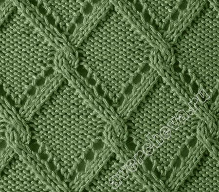 I love the combination of lace and cable for this diamond pattern. It's in a different language, but there is a chart.