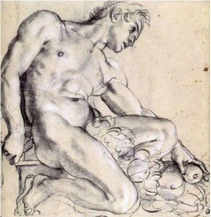 Annibale Carracci (1560-1609), Uomo nudo seduto con una ghirlanda, 1598/99, carboncino nero evidenziato con gessetto bianco su carta grigia. Parigi, Museo del Louvre.