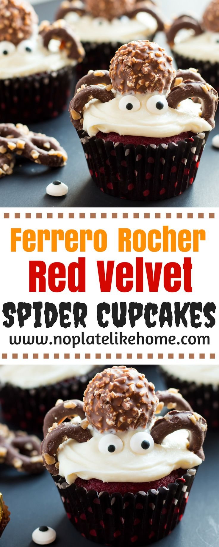 Cute, easy Ferrero Rocher Red Velvet Cupcakes are decorated with toffee chocolate covered pretzel legs, candy eyes and Ferrero Rocher hazelnut chocolates. These upscale cupcakes can be made with a tasty from scratch red velvet and buttercream frosting recipe or a boxed mix to save time. Your kids will have fun decorating them. Great for Halloween parties! Includes how to make tutorial. Pin for later.