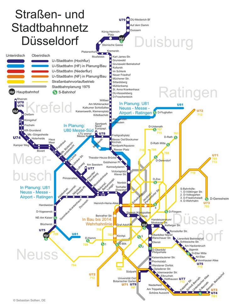 A rede de transporte público da cidade de Düsseldorf, conhecida como Düsseldorf Stadtbahn, é composta por trem, metrô, bondes e ônibus. A empresa encarregada pelos transportes é a Rheinbahn, integrada dentro da associação de Transporte Rhein-Ruhr (VRR). Assim como a cidade de Dortmund, foi incluída no plano geral para o Stadtbahn Rhein-Ruhr apresentado em 1970.