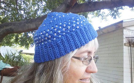 Crochet beaded tam in soft organic cotton yarn by EccentricHats, $28.00