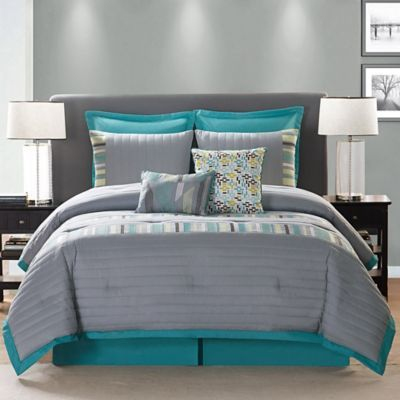 with a unique mix of grey yellow and turquoise patterns the stylish bedding instantly adds chic to