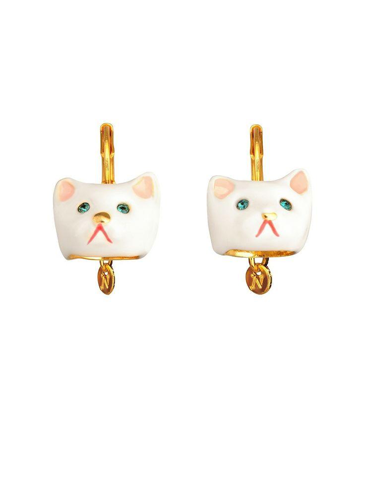 #lesnereides #lesnereides-paris #jewelry #earrings #animal #cat #white #blue-eyes #enamel #handmade #cute #sweet Shop on #www.lesnereides-usa.com