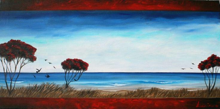 Art by Lanie Wilton. Gisborne NZ. View from Okitu - Wainui Beach. Gisborne art.