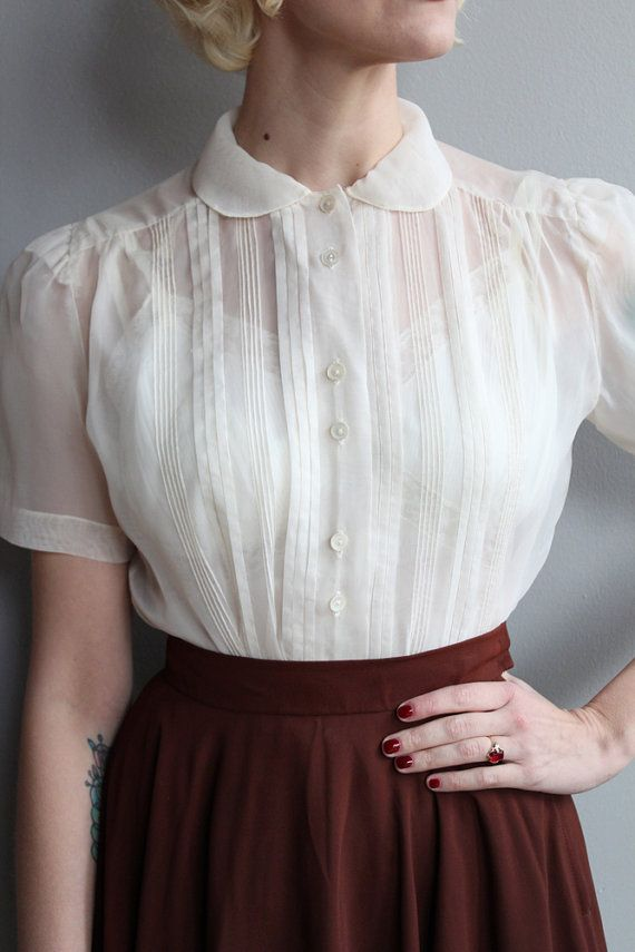 1950s Blouse // Ivory Nylon Blouse // vintage by dethrosevintage