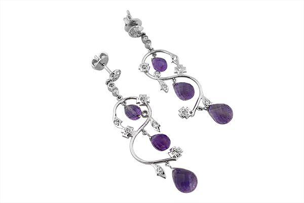 Sterling Silver Amethyst White Crystal Quartz Chandelier Earrings