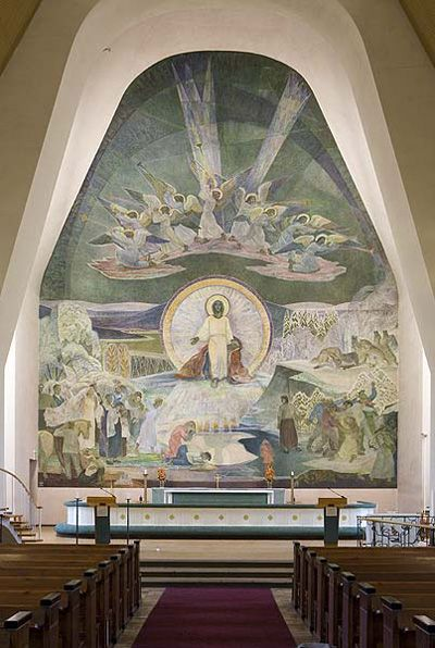 Lennart Segerstråle (1892-1975); Finnish: The 14 meters high fresco Elämän lähde (The fount of Life) on the altar wall of Rovaniemi Church (Finland); 1951.