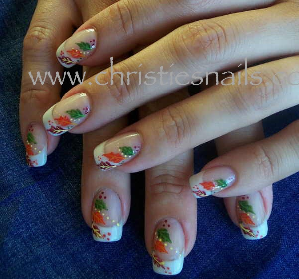 fall leaves hand painted nail art