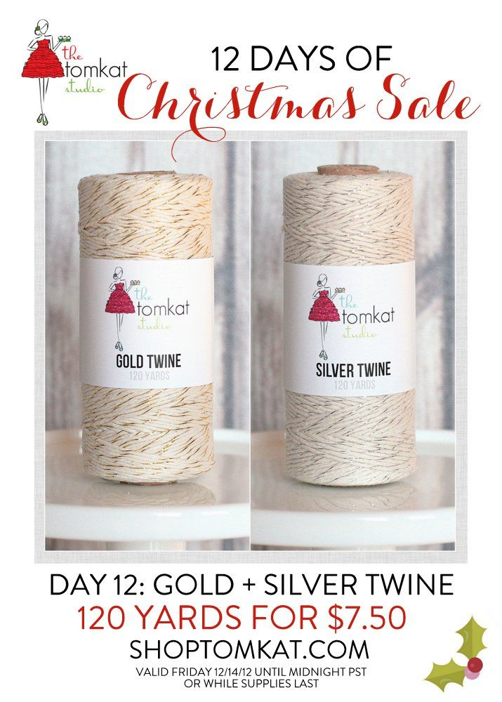 Last Day of our 12 Days of Christmas SALE! Gold + Silver Twine! shoptomkat.comChristmas 2013, 1850 Shoptomkatcom, Christmas Sales, Twine Silver, Shops Christmas, Shoptomkat Com, Gold Twine, Tomkat Twine, Silver Twine