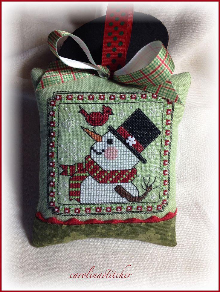 snowman cross stitch pillow ornament
