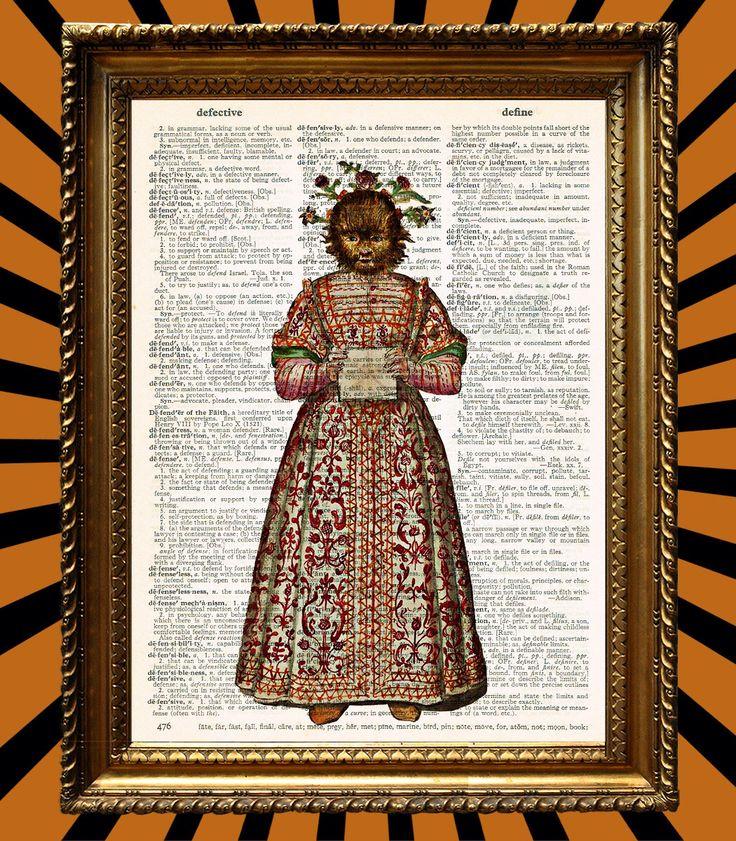 Ragazza lupo con bel vestito e fiori nei capelli immagini d'epoca impressionante Upcycled Vintage dizionario pagina libro Art Print di Juxtified su Etsy https://www.etsy.com/it/listing/179652764/ragazza-lupo-con-bel-vestito-e-fiori-nei