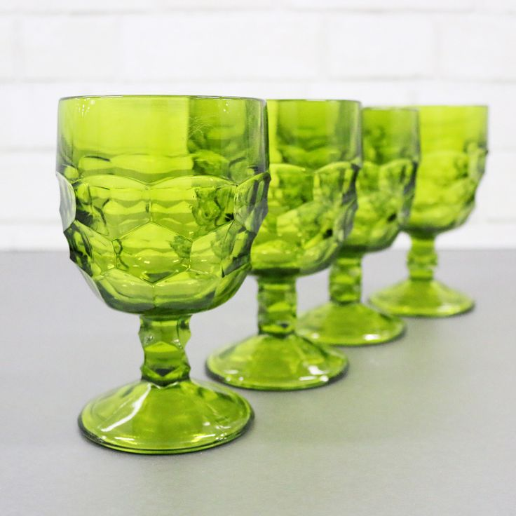 Large Green Drinking Glasses, Set Of 4