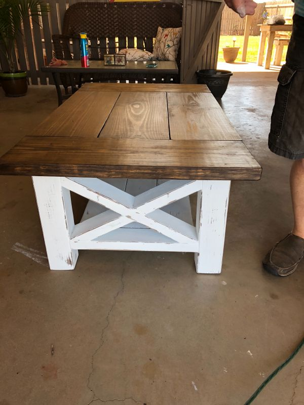 Chunky Farmhouse Coffee Table Woodworking Furniture Easy