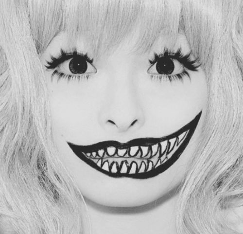 Black and white photo of minimalist monster makeup. Terrificute ^^