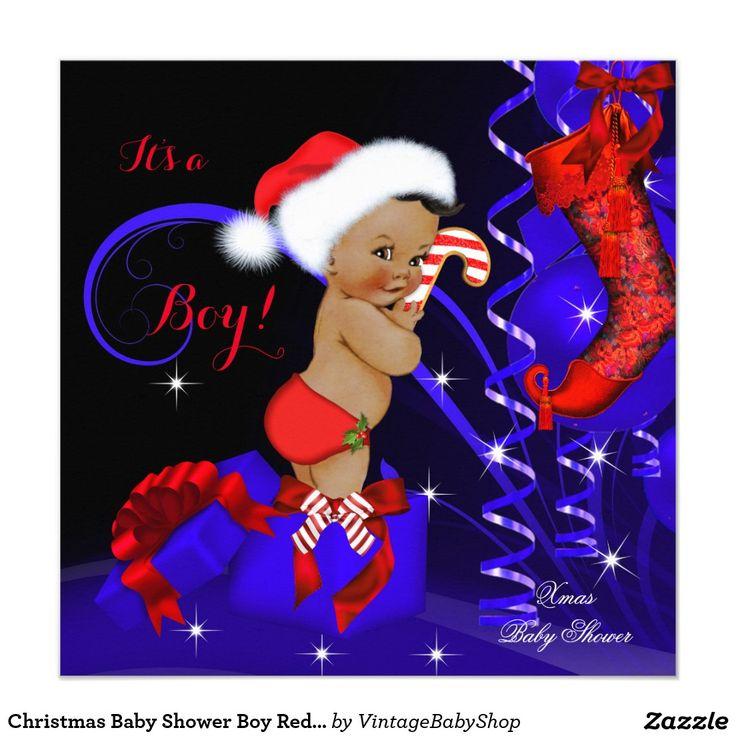 Christmas Baby Shower Boy Red Blue Ethnic Invitation