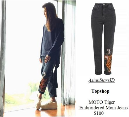 IG - Jeanette Aw: Topshop MOTO Tiger Embroidered Mom Jeans $100 Photo: @jeanetteaw, @topshop  For more and/or where to buy this item, visit asianstarsid.com  #jeanetteaw #topshop #fashion #singapore #sg #mediacorp #actress #asianstarsid #moto #jeans