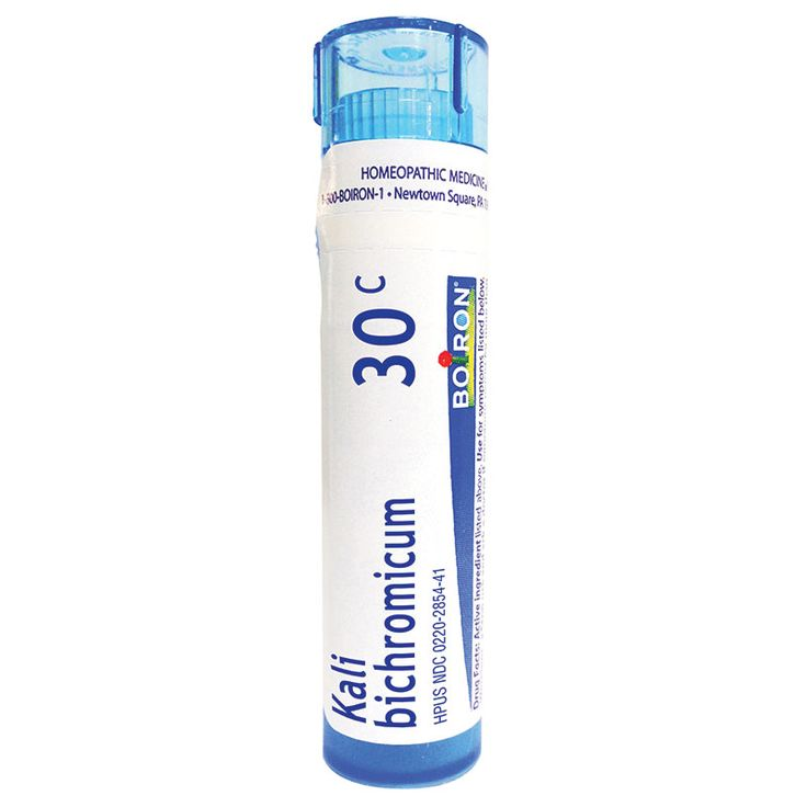 Kali bichromicum: Main indication: Cold with thick nasal discharge. Common name: Potassium dichromate.Recommended for adults and children 2 years and up.